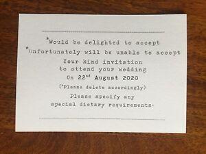 Personalised Wedding RSVP cards. Rosie range
