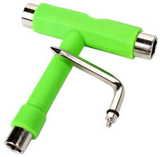 Green Multi Skateboard T Tools All In One with Small L Spanner Roller Skate