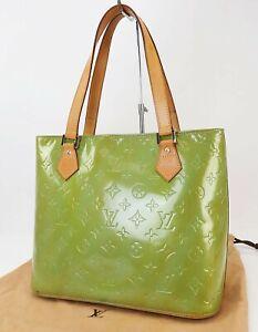Authentic LOUIS VUITTON Houston Baby Blue (Green) Vernis Tote Bag Purse #40535