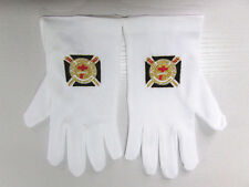 Embroidered Knights Templar White Nylong Gloves