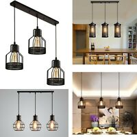 Modern rectangle 3 Way Ceiling Pendant Cluster Light Fitting Cage Style Light UK