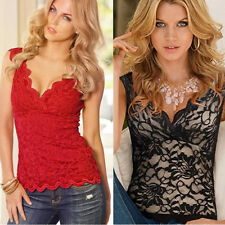 Women Summer Lace V-neck Vest Tops Sleeveless Blouse Casual Tank Top Shirt Red L