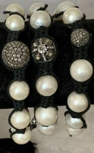 Shamballa Macramé Sterling Diamond Bead Ball And Pearl Bracelet
