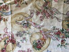 New listing vintage 1980s Sharon Kessler straw hat fabric Cottagecore cotton remnant