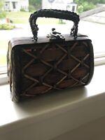 Vintage Antique Purse Handmade Basket Bag Woven Metal Rope Handles