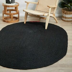 Rug 100% Natural Jute 5x7 Feet Reversible Oval Area Dhurrie Carpet Mat Rag Rugs