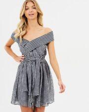 Black & White Gingham Off the Shoulder Dress Size 12
