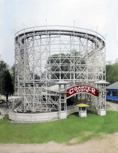 """1917 Roller Coaster, Glen Echo Park, MD Old Photo 8.5"""" x 11"""" Reprint Colorized"""