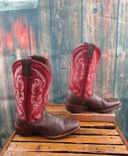Ladies Nocona Red / Brown Leather Squared Toe Cowgirl Boots Sz :7 B