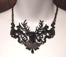 BLACK DEER FILIGREE NECKLACE damask stag antler Victorian Gothic elk bib NEW Z4