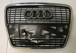 NEW GENUINE AUDI A6 C6 05-08 FRONT CENTER GRILL ASSEMBLY GREY 4F0853651 1QP