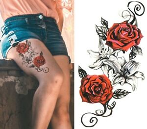 Temporary Tattoo Large Red Roses Lily Flower Body Art Fake Waterproof Black