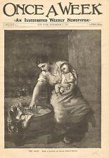 Mother & Child, The Bath, Wood Washtub, Family, Vintage 1890 Antique Art Print