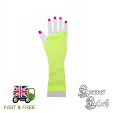 Sexy Halloween Neon Yellow Fishnet Gloves Retro Raver Fancy Dress Costume Fetish