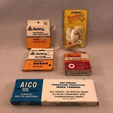 Vintage 5 boxes lot Dennison AICO Avery office supplies labels gummed presaply