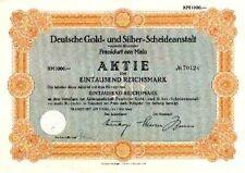 Degussa Deutsche Gold + Silber Scheideanstalt Frankfurt histor Aktie 1942 Evonik