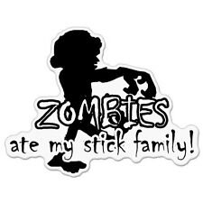 "Zombies Ate My Stick Family car bumper sticker decal 5"" x 4"""