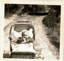 Old Vintage Antique Photograph Adorable Baby in Antique Wicker Carriage