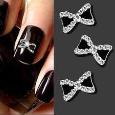 10 × 3D Metal Rhinestone Bowknot Nail Art Glitters Tips Decoration Manicure J6P8