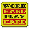 "Work Hard Play Hard car bumper sticker decal 4"" x 4"""