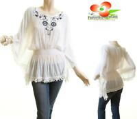 Woman Victorian Ivory Cotton Embroidery Batwing Kimono Tassel Peasant Blouse Top