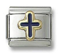 Italian Charm Religious Cross Stainless Steel Blue Enamel 9 mm Link Bracelet New