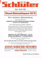 Schlüter- Diesel- Kleinschlepper DS 15, orig. Prospekt 50er Jahre