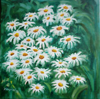 Chamomiles oil canvas 16x16 Hand Russian Painting JS Art