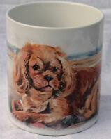 CAVALIER KING CHARLES SPANIEL RUBY DOG MUG  BEACH OIL PRINT SANDRA COEN ART