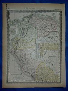 Vintage 1882 Atlas Maps ~ COLOMBIA VENEZUELA ECUADOR BOLIVIA ~ Old & Authentic