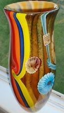 French Art Glass Collection Verre Artisanal Rainbow Floral Stunning Vase FLoral