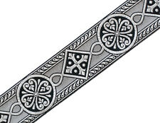 """Gothic 2.5"""" Wide Black & Silver Chasuble Medieval Church Vestment Trim 4 Yds DIY"""