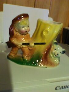 Vintage American Bisque Davy Crockett Planter boy bear cub