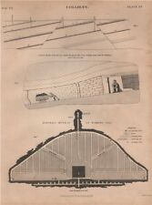 Colliery. Longwall method of working coal. Mining. BRITANNICA 1860 old print