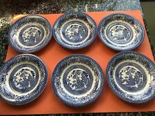 More details for six english ironstone willow teacup saucers 15cm diameter without back stamp new
