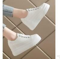 Womens Creeper Hidden Heel Platform White Sneakers Lace Up Trainer Casual Shoes