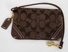 Coach Brown Signature Canvas Leather Zip Top Wristlet