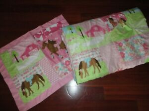 CIRCO PRETTY HORSES PINK BROWN POLK DOTS (2PC) TWIN COMFORTER SET