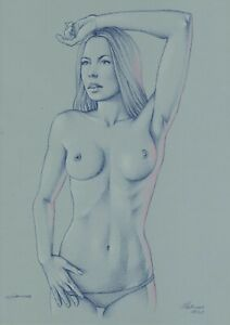 original drawing A3 37MS art by samovar sketch pastel woman Signed 2020