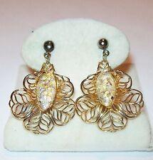Vtg Sim Opal Confetti Art Glass Navette Earrings Orchid Lily Filigree 3D Flower