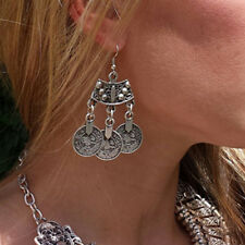 Vintage Tribal Boho Gypsy Festival Jewelry Tibetan Silver Coins Dangle Earrings