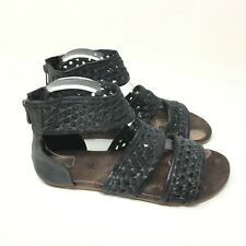 ROAN Women's Casual Open Toes Black Gladiator Sandals Size 9