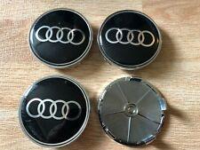 4x Audi 68mm Wheel Centre Cap Hub Alloy Caps 3D Logo New Black/Silver