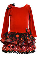 Bonnie Jean Little Girls Velvet Christmas Holiday Santa Stretch Red Dress 2T-6X