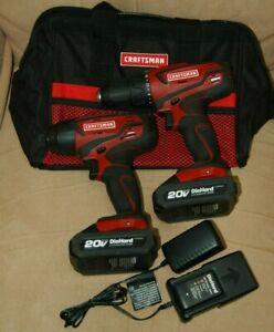 "Craftsman 1/2"" Drill & 1/4"" Impact Driver Combo Kit Charger 20V Batteries Bag"