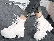 Womens Punk Ankle Boots Casual Platform Chunky High Heel Lace Up Round Toe Shoes