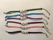 NEW LEATHER INFINITY LOVE BRACELETS IN COLORS SEE BELOW--B300