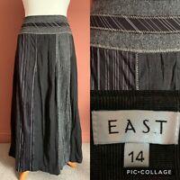 EAST Long Maxi Skirt Grey/Black Patchwork Style UK14 Flare Crinkle Autumnal