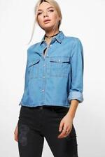Jeans da donna media blu denim