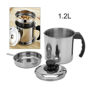 1x 1.2L Oil Dripping Container Fry Lard Pot Jug Strainer Strain With Lid AU Ship